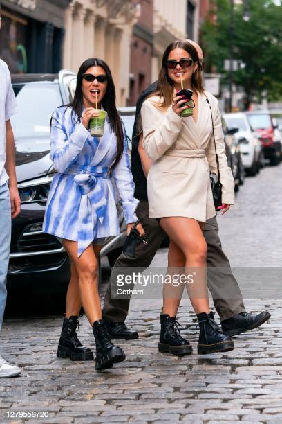 Kourtney Kardashian and Addison Rae are seen in SoHo on October 10, 2020 in New York City.