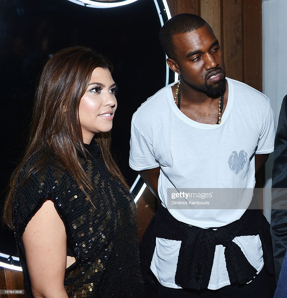 Kourtney Kardashian and Kanye West attend the celebration of Dom Perignon Luminous Rose at Wall at W Hotel on December 6, 2012 in Miami Beach, Florida.