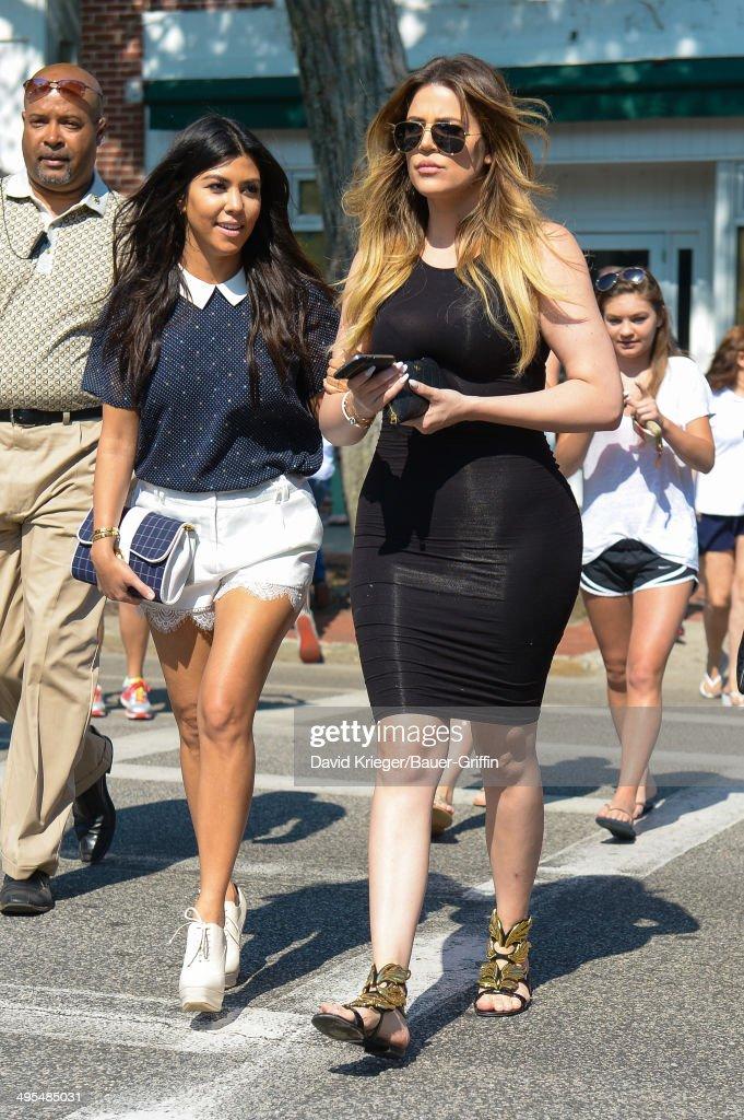 Kourtney Kardashian and Khloe Kardashian are seen in Southhampton on June 03, 2014 in Southampton, New York.
