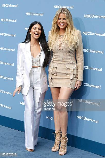 Kourtney Kardashian and Khloe Kardashian of Keeping Up with the Kardashians on E Entertainment attend the NBCUniversal 2016 Upfront on May 16 2016 in...
