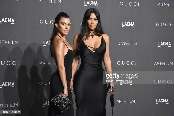 Kourtney Kardashian and Kim Kardashian attend LACMA Art Film Gala 2018 at Los Angeles County Museum of Art on November 3 2018 in Los Angeles CA