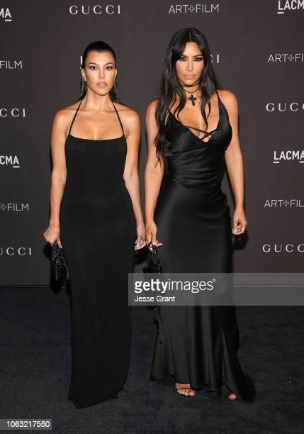 Kourtney Kardashian and Kim Kardashian attend the 2018 LACMA Art Film Gala at LACMA on November 03 2018 in Los Angeles California