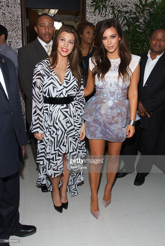 Kourtney Kardashian and Kim Kardashian make an appearance at North Miami City Hall to receive key to the City Of North Miami on November 19, 2012 in North Miami, Florida.