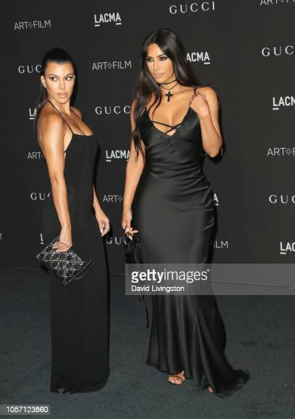 Kourtney Kardashian and Kim Kardashian West attend 2018 LACMA Art Film Gala honoring Catherine Opie and Guillermo del Toro presented by Gucci at...