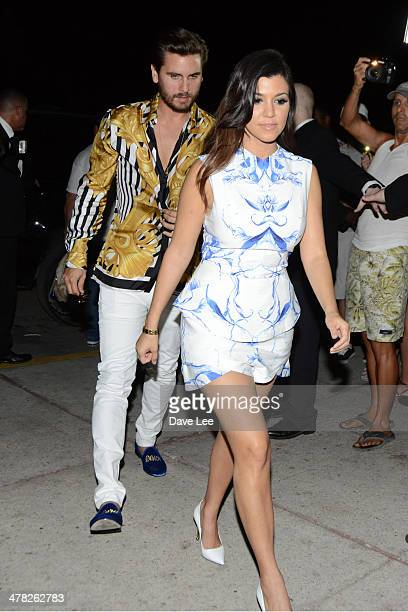 Kourtney Kardashian and Scott Disick are sighted arriving back to their hotel in South Beach on March 12 2014 in Miami Beach Florida