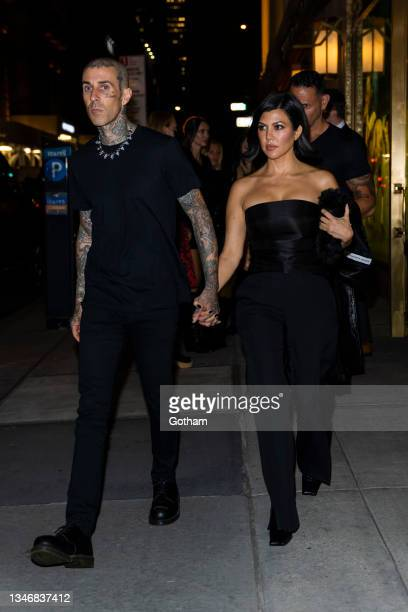 Kourtney Kardashian and Travis Barker are seen in Midtown on October 15, 2021 in New York City.