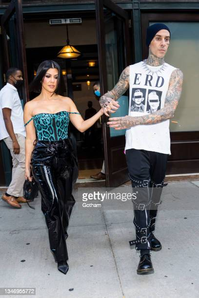 Kourtney Kardashian and Travis Barker are seen on October 16, 2021 in New York City.