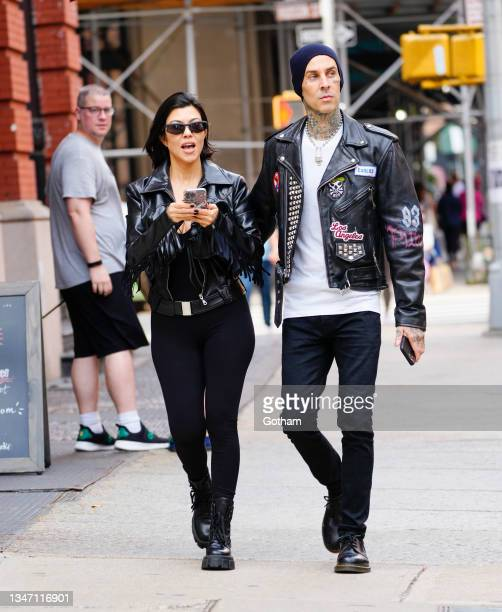 Kourtney Kardashian and Travis Barker out and about on October 16, 2021 in New York City.