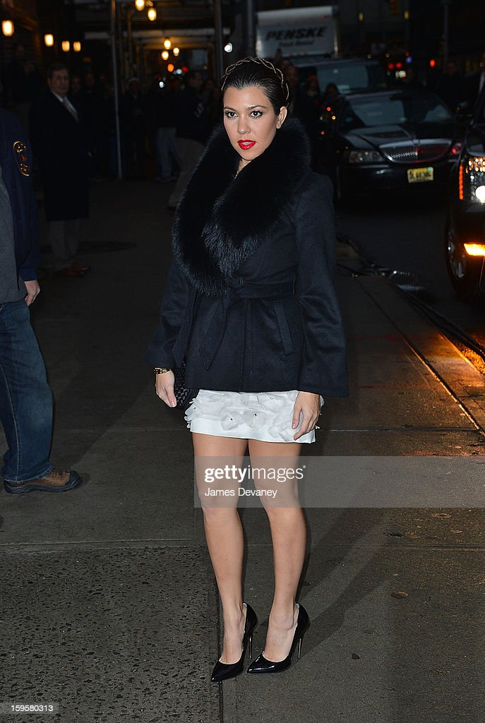 Kourtney Kardashian arrives to 'Late Show with David Letterman' at Ed Sullivan Theater on January 16, 2013 in New York City.