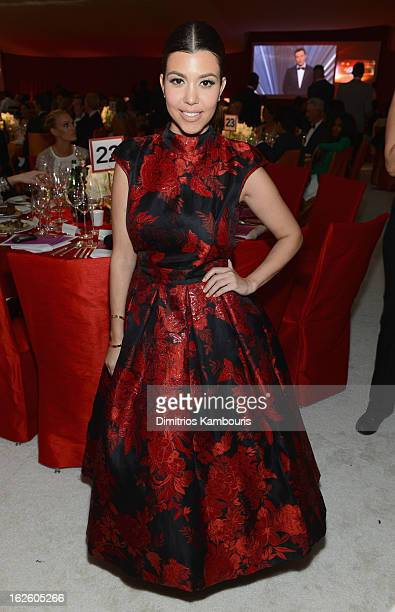 Kourtney Kardashian attends the 21st Annual Elton John AIDS Foundation Academy Awards Viewing Party at West Hollywood Park on February 24 2013 in...