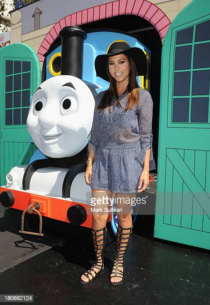 """Kourtney Kardashian attends the """"Thomas & Friends: King of the Railway"""" blue carpet premiere at The Grove on September 15, 2013 in Los Angeles,..."""