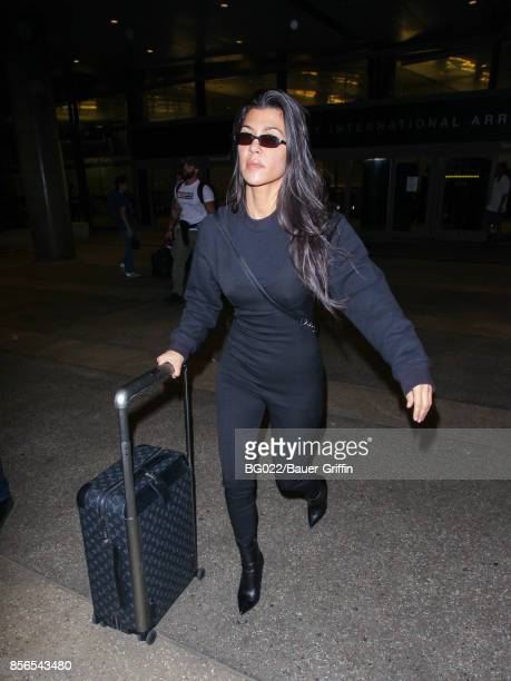 Kourtney Kardashian is seen at Los Angeles International Airport on October 01 2017 in Los Angeles California