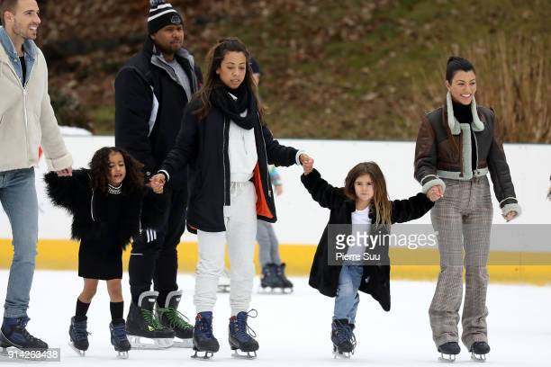 Kourtney Kardashian is seen ice skating with her daughter Penelope and her niec North West in central Park on February 4 2018 in New York City