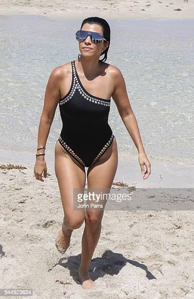 Kourtney Kardashian is seen on the beach on July 4 2016 in Miami Florida