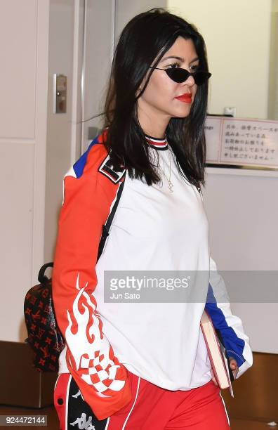 Kourtney Kardashian is seen upon arrival at Haneda Airport on February 26 2018 in Tokyo Japan