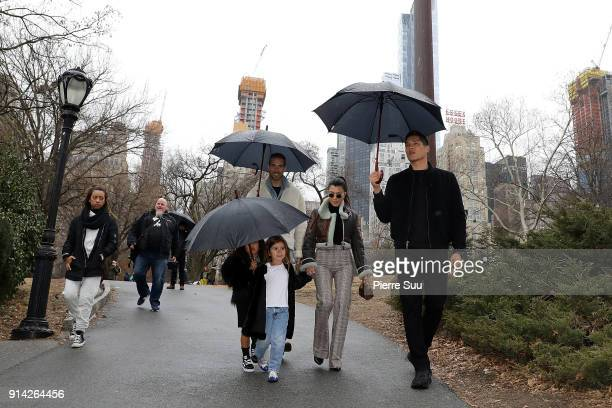 Kourtney Kardashian is seen with her daughter Penelope and her niece North West in central Park on February 4 2018 in New York City