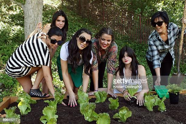 Kourtney Kardashian, Kendall Jenner, Kim Kardashian, Khloe Kardashian, Kylie Jenner and Kris Jenner plant a vegetable garden at their family home on...