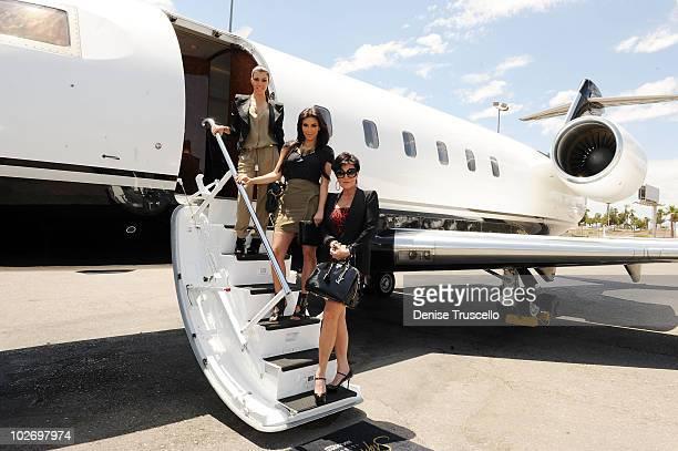 Kourtney Kardashian, Kim Kardashian and Kris Jenner arrive at McCarren Airport on June 28, 2010 in Las Vegas, Nevada.