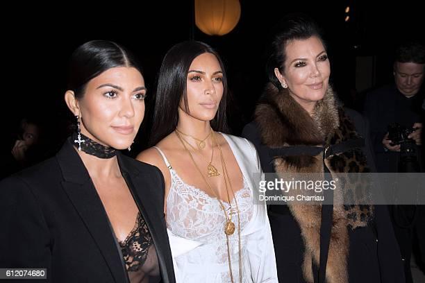 Kourtney Kardashian, Kim Kardashian and Kris Jenner attend the Givenchy show as part of the Paris Fashion Week Womenswear Spring/Summer 2017 on...