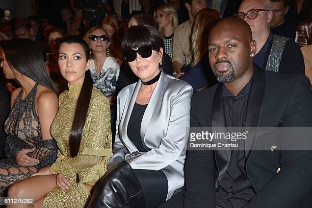 kourtney kardashian Kris Jenner and Corey Gamble attend the Balmain show as part of the Paris Fashion Week Womenswear Spring/Summer 2017 on September...