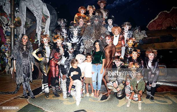 Kourtney Kardashian Mason Disick North West and Penelope Disick pose backstage with the cast at 'Cats' on Broadway at The Neil Simon Theatre on...