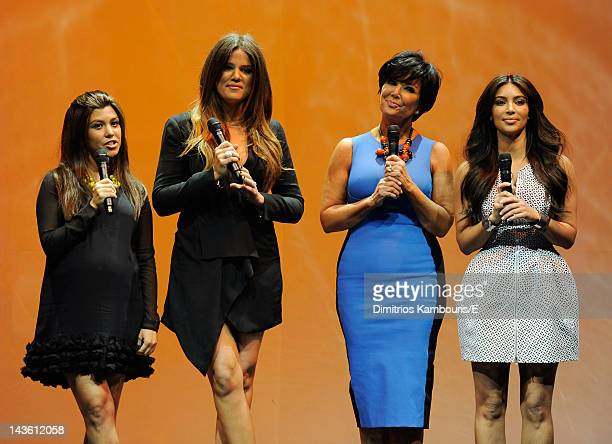"Kourtney Kardashian Odom, Khloe Kardashian, Kris Jenner and Kim Kardashian of ""Keeping Up With The Kardashians"" perform during E! 2012 Upfront at NYC..."