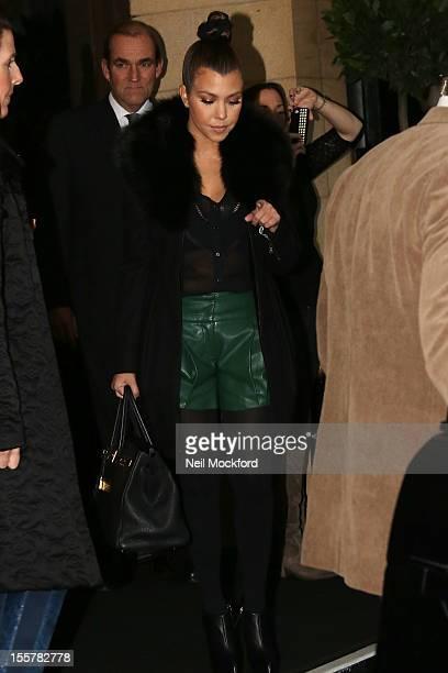 Kourtney Kardashian seen leaving The Dorchester Hotel on November 8 2012 in London England