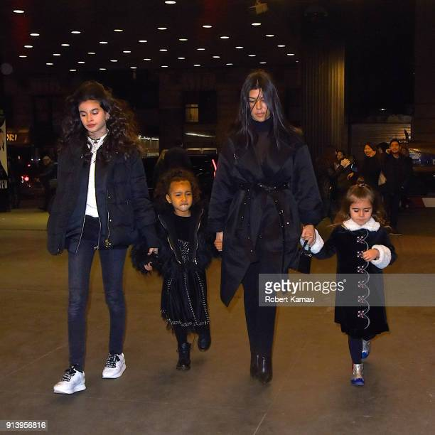 Kourtney Kardashian seen out and about with friends daughter Penelope and her niece North West on February 3 2018 in New York City
