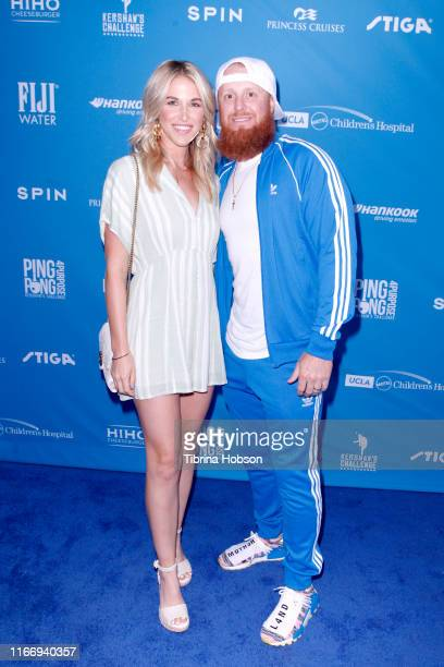 Kourtney Pogue and Justin Turner attend Clayton Kershaw's 7th Annual Ping Pong 4 Purpose at Dodger Stadium on August 08 2019 in Los Angeles California