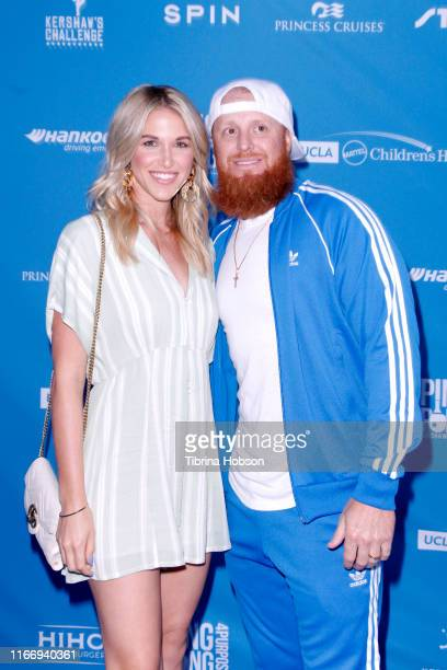Kourtney Pogue and Justin Turner attends Clayton Kershaw's 7th Annual Ping Pong 4 Purpose at Dodger Stadium on August 08 2019 in Los Angeles...