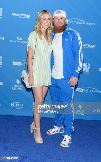 Kourtney Pogue and Los Angeles Dodgers player Justin Turner attend the 7th annual Ping Pong 4 Purpose celebrity tournament fundraiser at Dodger...