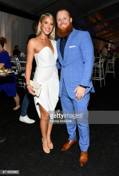 Kourtney Turner and Justin Turner attend the Fourth Annual Los Angeles Dodgers Foundation Blue Diamond Gala at Dodger Stadium on June 11 2018 in Los...