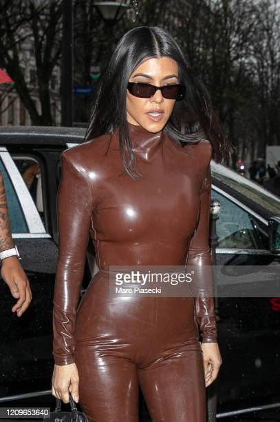 Kourtney West arrives at L'Avenue restaurant on March 01, 2020 in Paris, France.