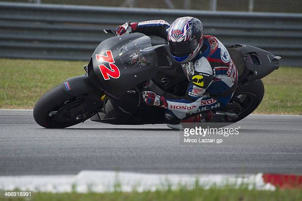 Kousuke Akiyoshi of Japan and HRC Test Team rounds the bend during the MotoGP Tests in Sepang Day Two at Sepang Circuit on February 5 2014 in Kuala...