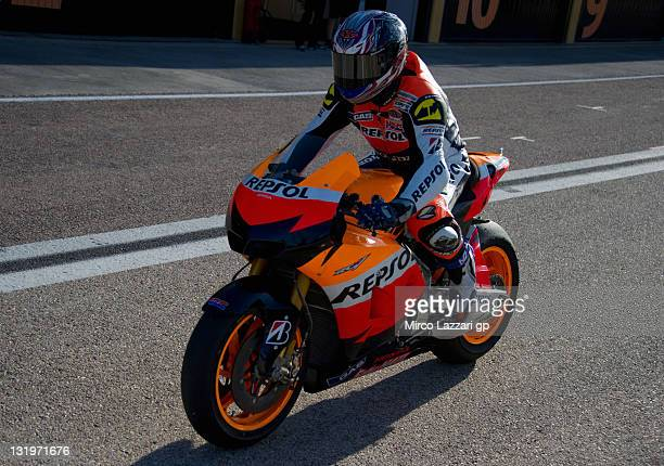 Kousuke Akiyoshi of Japan and Repsol Honda Team heads down a straight during the second day of MotoGP testing at Ricardo Tormo Circuit on November 9...