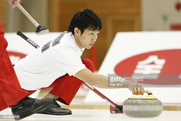 Kousuke Morozumi of SC Karuizawa Club delivers a stone in the Men's Final Match during the 30th All Japan Curling Championships at Dogin Curling...