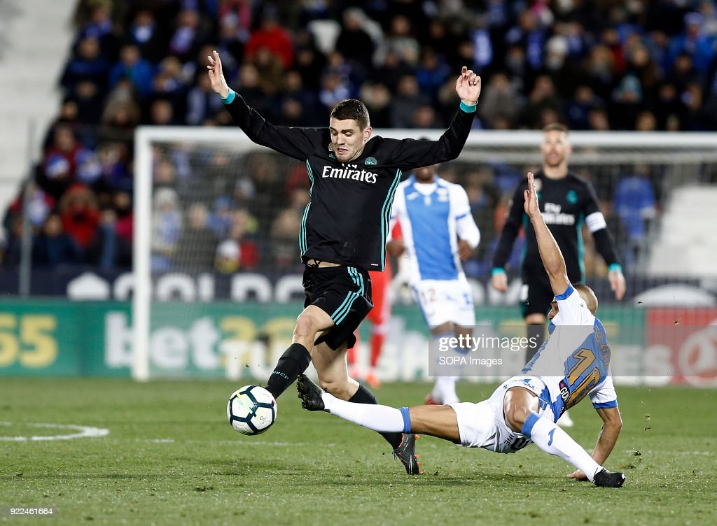 BUTARQUE, LEGANES, MADRID, SPAIN - : Kovacic (Real Madrid) competes for the ball with El Zhar during the La Liga Santander match between Leganes vs Real Madrid at the Estadio Butarque. Final Score Leganes 1 Real Madrid 3.