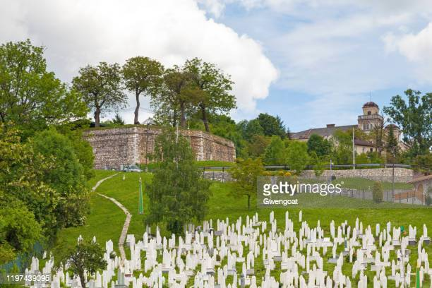 kovači cemetery & the yellow bastion in sarajevo - gwengoat stock pictures, royalty-free photos & images