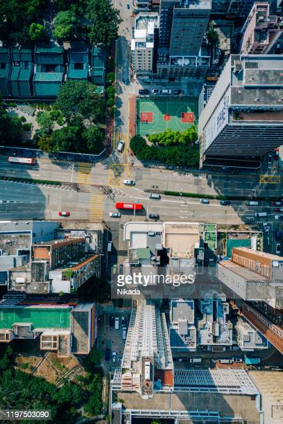 kowloon from an aerial perspective, hongkong, china - urban sprawl stock pictures, royalty-free photos & images