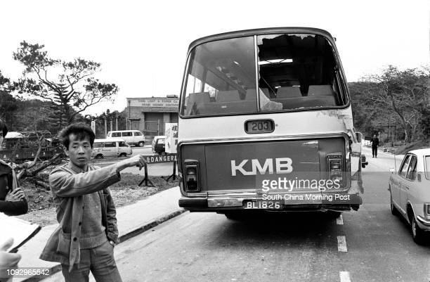 A Kowloon Motor Bus was caught in a chain collision in Clear Water Bay Road Sai Kung Pictured here is a witness recalling how the accident happened...