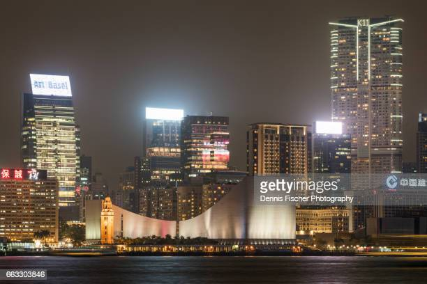 kowloon view at night - tsim sha tsui stock pictures, royalty-free photos & images