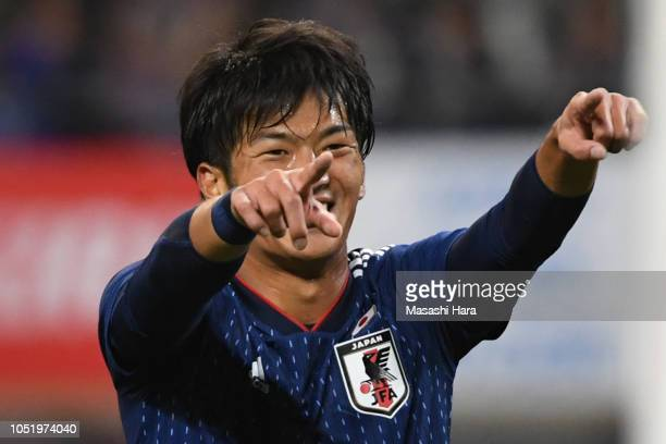 Koya Kitagawa of Japan celebrates their third goal during the international friendly match between Japan and Panama at Denka Big Swan Stadium on...