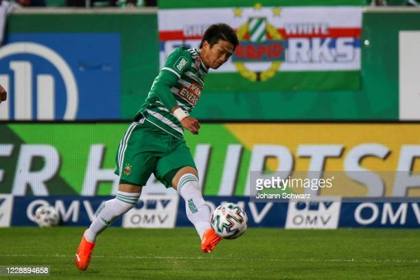 Koya Kitagawa of Rapid controls the ball during the tipico Bundesliga match between SK Rapid Wien and LASK at Allianz Stadion on October 4 2020 in...