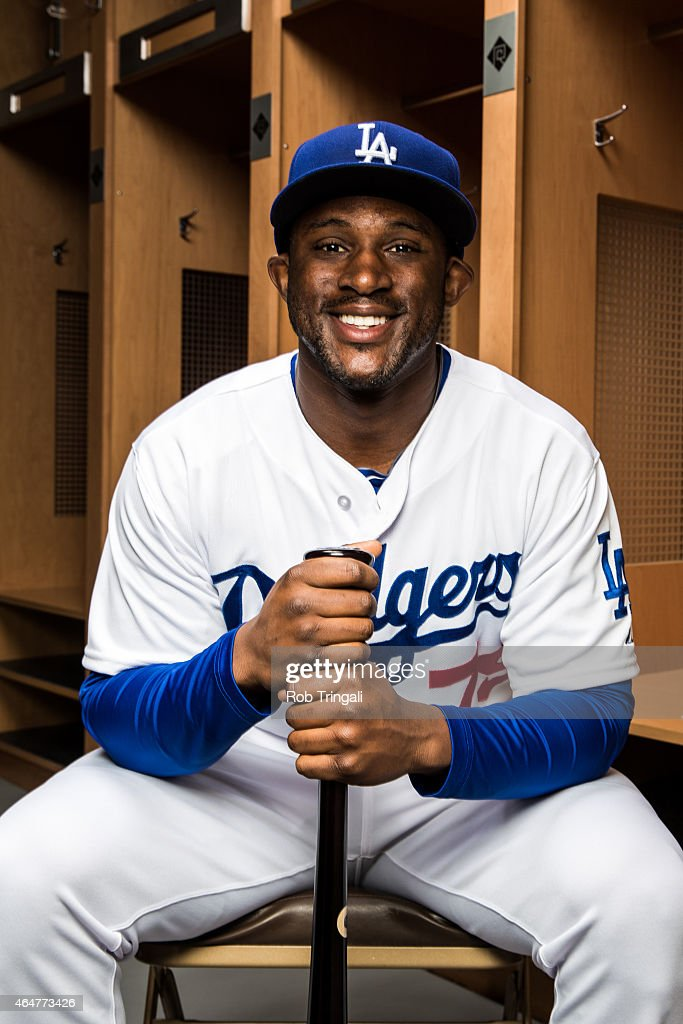 O'Koyea Dickson #79 of the Los Angeles Dodgers poses for a portrait during spring training photo day at Camelback Ranch on February 28, 2015 in Glendale, Arizona.