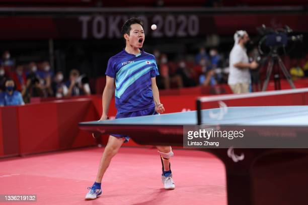 Koyo Iwabuchi of Team Japan celebrates a point during the Men's Singles Class 9 table tennis match against Ashley Facey Thompson of Team Great...