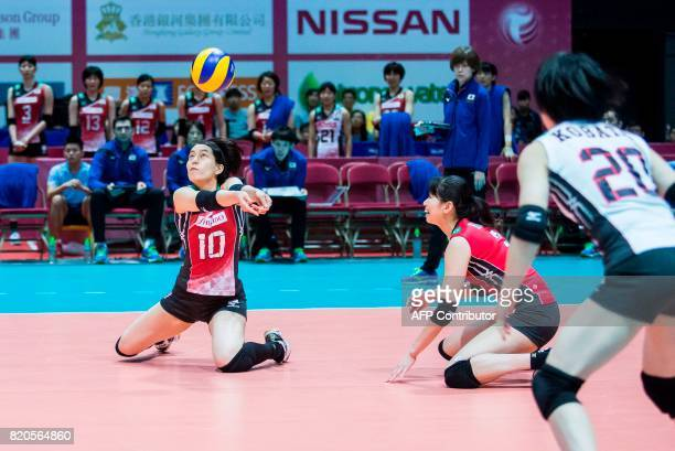 Koyomi Tominaga of Japan controls the ball during their match against Serbia at the Women's Volleyball World Grand Prix in Hong Kong on July 22 2017...
