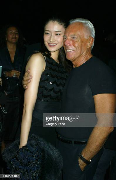 Koyuki Kato and Giorgio Armani during Giorgio Armani Spring Summer 2005 Collection After Party at Pier 94 in New York City New York United States