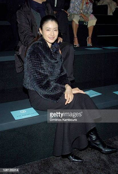 Koyuki Kato during Giorgio Armani Spring Summer 2005 Collection Front Row and Backstage at Pier 94 in New York City New York United States