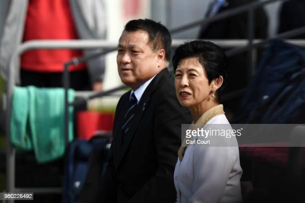 Kozo Tashima President of the Japan FA and Hisako Princess Takamado look on during the Japan Training Session on June 21 2018 in Kazan Russia
