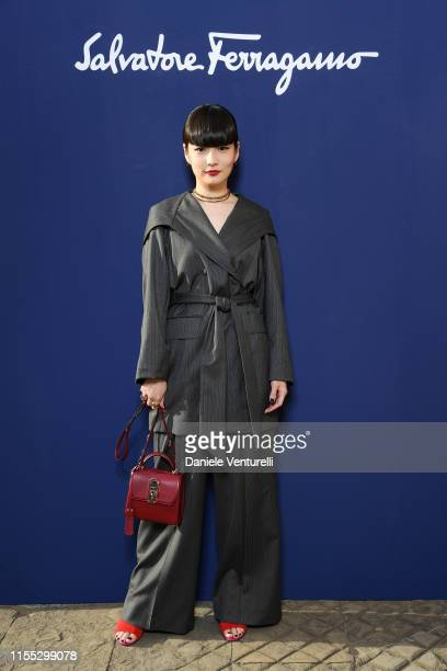 Kozue Akimoto attends the Salvatore Ferragamo show during Pitti Immagine Uomo 96 on June 11, 2019 in Florence, Italy.